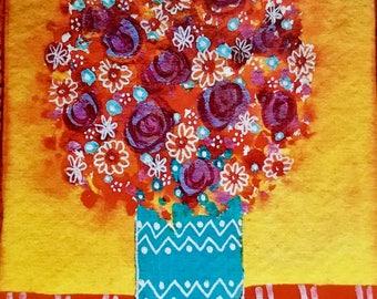 Beautiful Blooms, blank greetings card, floral card
