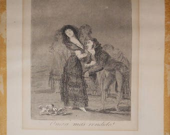 vintage etching aquatint  artist Goya etching from Los Caprichos  plate 27