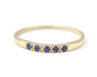 ON SALE Sapphire Ring - Pave Blue Sapphire Ring - 18K Solid Gold