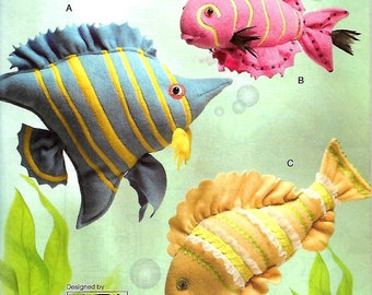 Rare Vogue 8377 Stuffed Tropical Fish Sewing Pattern, Plushies, Linda Carr