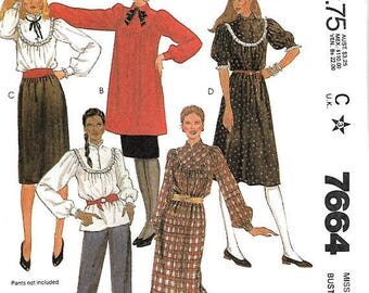 ON SALE McCall's 7664 Misses Rounded Yoke Dress, Tunic Or Blouse And Skirt Pattern, 8, 10 & 12, UNCUT