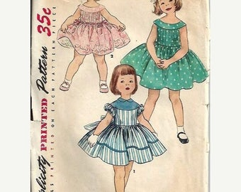 ON SALE 1950s Simplicity 1220 Little Girls One-Piece Party Dress Pattern, Size 4
