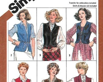 Simplicity 5294 Misses Set Of Lined And Unlined Vests Sewing Pattern, Size 14, UNCUT