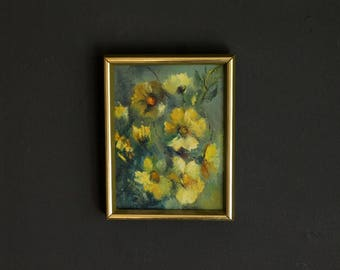 Vintage Yellow Poppies Signed Original Painting by Artist Walburga Schauer Oil On Stretched Canvas Impressionist Small Framed Wall Art