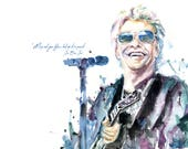 "Jon Bon Jovi ""Map out your future, but do it in pencil."" from Original Watercolor Print"