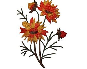 ID 6357 Orange Wildflower Bunch Patch Garden Flower Embroidered Iron On Applique