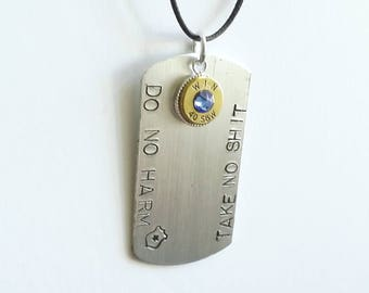 Thin Blue Line Dogtag - Police Dogtag - Dog Tag - Police Wife Gift - Bullet Jewelry