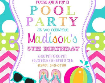 25 Pool Party invitations with envelopes-swim paty- swimming party-any colors