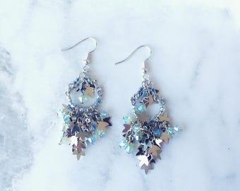 Swarovski Earrings/ Crystal Earrings/ Metal Leaf Earrings/ Handmade Earrings/ Dangle Earrings/ Ear Wire/ Sparking Earrings