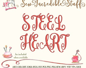 Steelheart Script Embroidery Font Letters, Upper Case and Lower Case