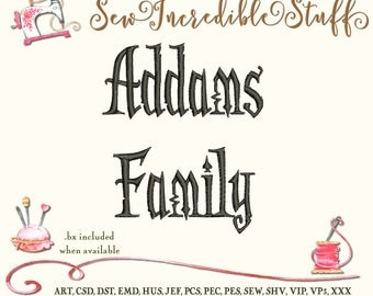 Addams Family Machine Embrodery font