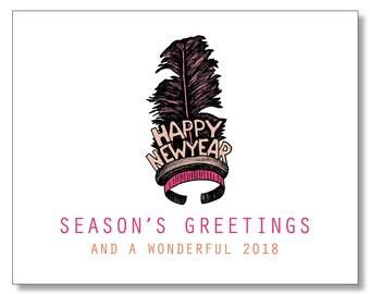Happy New Year Headband Card - Happy Holidays Card - Feather Tiara New Years Card - Season's Greetings Card - Happy 2018
