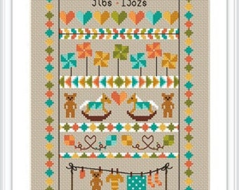 INSTANT DOWNLOAD Baby Bunting Birth Sampler PDF Chart