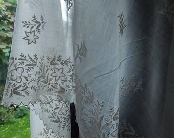 Antique Regency/early Victorian hand embroidered muslin shawl circa 1830 Austen era hand sewn Georgian