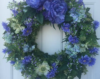Periwinkle Peony & Wax Flower with Lush Greens Wreath