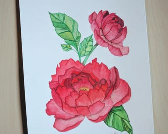 Red Peonies, Original Watercolor Painting, 9 in x 12 in