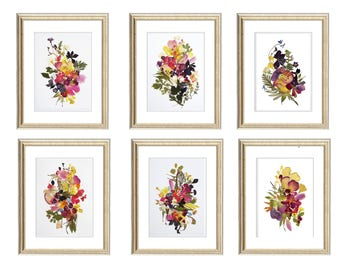 Set of 6 prints 11x14 Botanicals Prints Herbarium Pressed flower art botanical print set Dry flower wall art plant set floral triptych pink