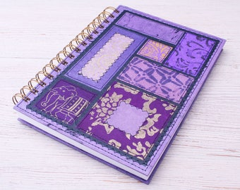 Purple lined notebook / recycled notebook / eco friendly notebook / writing journal / purple travel journal / purple diary /cute journal