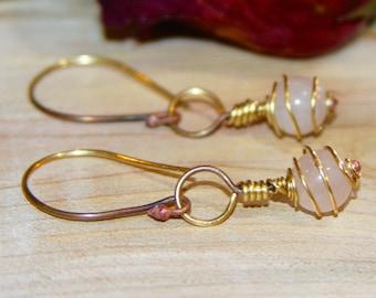 Pink Quartz Dangle Earrings. Pink Dangle Earrings, Gemstone Earrings, Pink Earrings, Handmade Earrings, Birch Bark Design