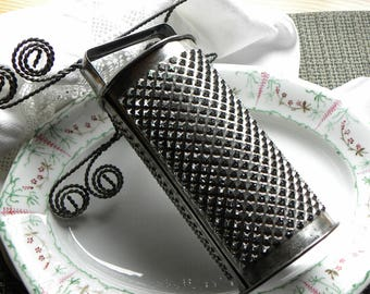 Primitive Rare FRENCH Bakery Fine 1800s Wide Soldered Handle Handworked Commercial Diamond Pattern Tin Cylinder Style Grater w/ 3 Patterns