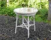 French Country 1910 Victorian Wicker Wood Glass Top Patio Table Vintage Heywood Wakefield Cafe Bistro Terrace Antique Cottage Parlor Stand