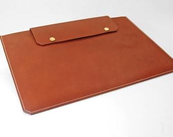 Cognac Leather MacBook 13 inch Case/Sleeve - Free Monogram Embossing Initials/Name - Handmade in England