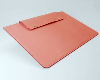 Pink Leather MacBook 13 inch Case/Sleeve - Free Monogram Embossing Initials/Name - Handmade in England