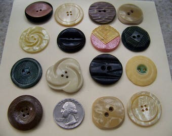 Lot of 15 Vintage Celluloid Buttons