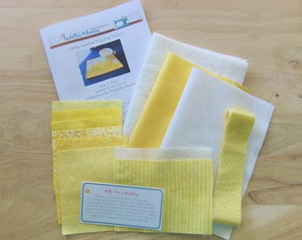 Sunshine Mug rug KIT, Contains all fabric, batting, templates and instructions for this Best Seller, DIY KIT for Large Coaster, Gift for her