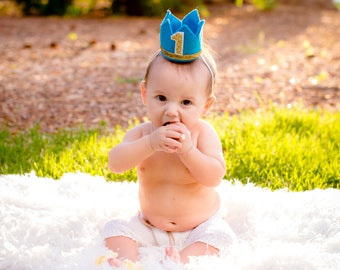 Prince Birthday Crown, Turquoise and Gold Cake Smash, Mini Birthday Crown, Mini Party Crown, Any Birthday number, Little Man Mustache Party