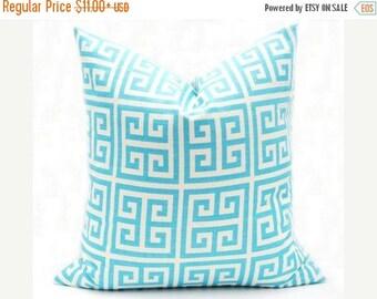 15% Off Sale Aqua Pillow, Decorative pillow Cover, Throw Pillow, Accent pillow, Cushion Cover, Greek Key, Premier Prints, Designer Pillow, T