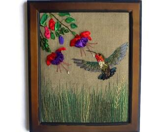 Fiber art Wall art Hanging textile Framed embroidery Hummingbird
