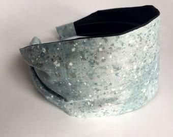 Womens headbands Glitter sparkle silver shimmer fabric hair band Stay Put Headband ice blue  metallic hair band