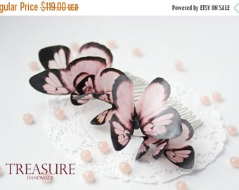 SALE Hair comb with 8 pink butterflies