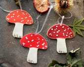 For Martin - Mushroom Ornaments Red  ceramic ornaments Red, Orange Holiday Woodlandl Pottery Rustic Home Decor Recycled Box Set of 3
