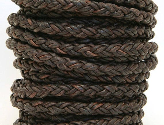 Round Braided Bolo Leather Cord 8 Ply 2 Mm Natural Antique