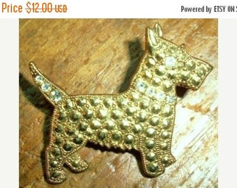 ON SALE Vintage Gold Scotty Dog Brooch, West Highland Terrier, Rhinestone Eye and Tail, Dog, Pin, Collectible Bridal Brooch Bouquet, Animal,