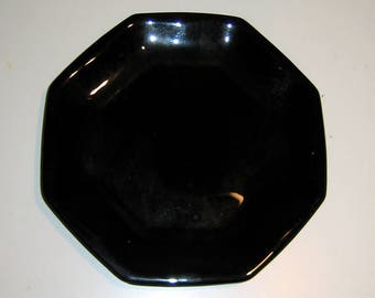 Vintage Arcoroc Ebony Black Glass Octime Lunch or Salad Plates from Arcoroc France
