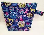 Floral Project Bag, Garden Project Bag, Knitting Project Bag, Medium Project Bag, Project Bag for Knitting, Crochet Project Bag