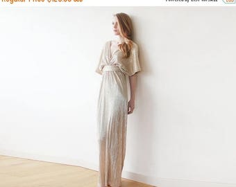 25% OFF Maxi bat sleeves gold pleated dress, Gold maxi gown, Glamorous party dress 1065