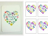 Mixed Note Cards, Pack of 5, Pack Thank You Card, Thinking of You Card, With Love Card, Just to Say Card, A Little Note Card, Small Notecard