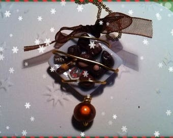 Chocolate Christmas ref 134 plate pendant necklace
