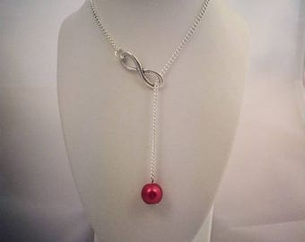 Red Pearl Necklace and infinity sign