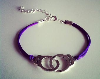 Purple cord with silver handcuffs bracelet