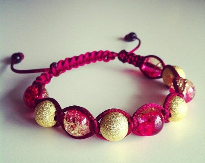 Shamballa bracelet adjustable Burgundy and gold #55