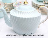TIMELESS BEAUTY, Vintage, English Bone China Teapot by Aynsley, Ribbed Pattern, Tea Party, Wedding Gift, Replacement China - c. 1934 - 1950s