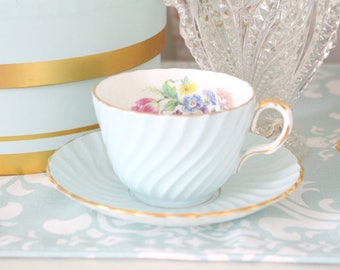 TEA CUP, Vintage, English Bone China, Swirl Tea Cup and Saucer by Aynsley, Robin Blue, Collectible, Replacement China