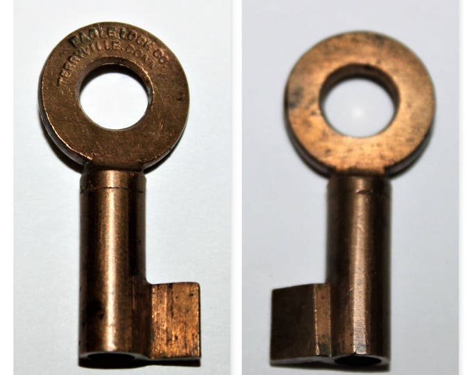Vintage Eagle Lock Company Brass Hollow Barrel Key Blank