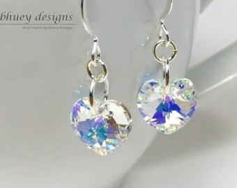 "Swarovski Crystal Heart Silver Plated Earrings - ""Snow-white"""