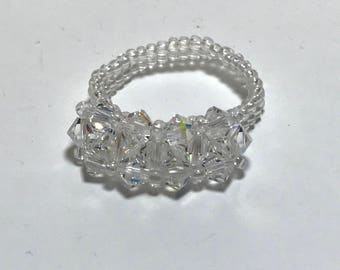 Clear Crystal Ring Swarovski Bead Ring Crystal Beaded Ring Seed Beaded Ring Beaded Ring Beadwoven Ring Size 6 Ring Peyote Ring